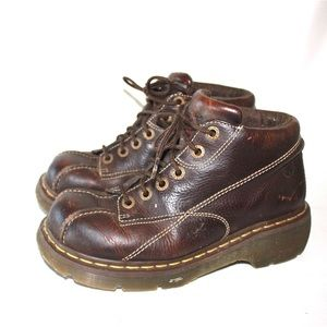 Dr. Martens Shoes - Dr. Marten 12281 Brown Leather Daisy Chunky Boots